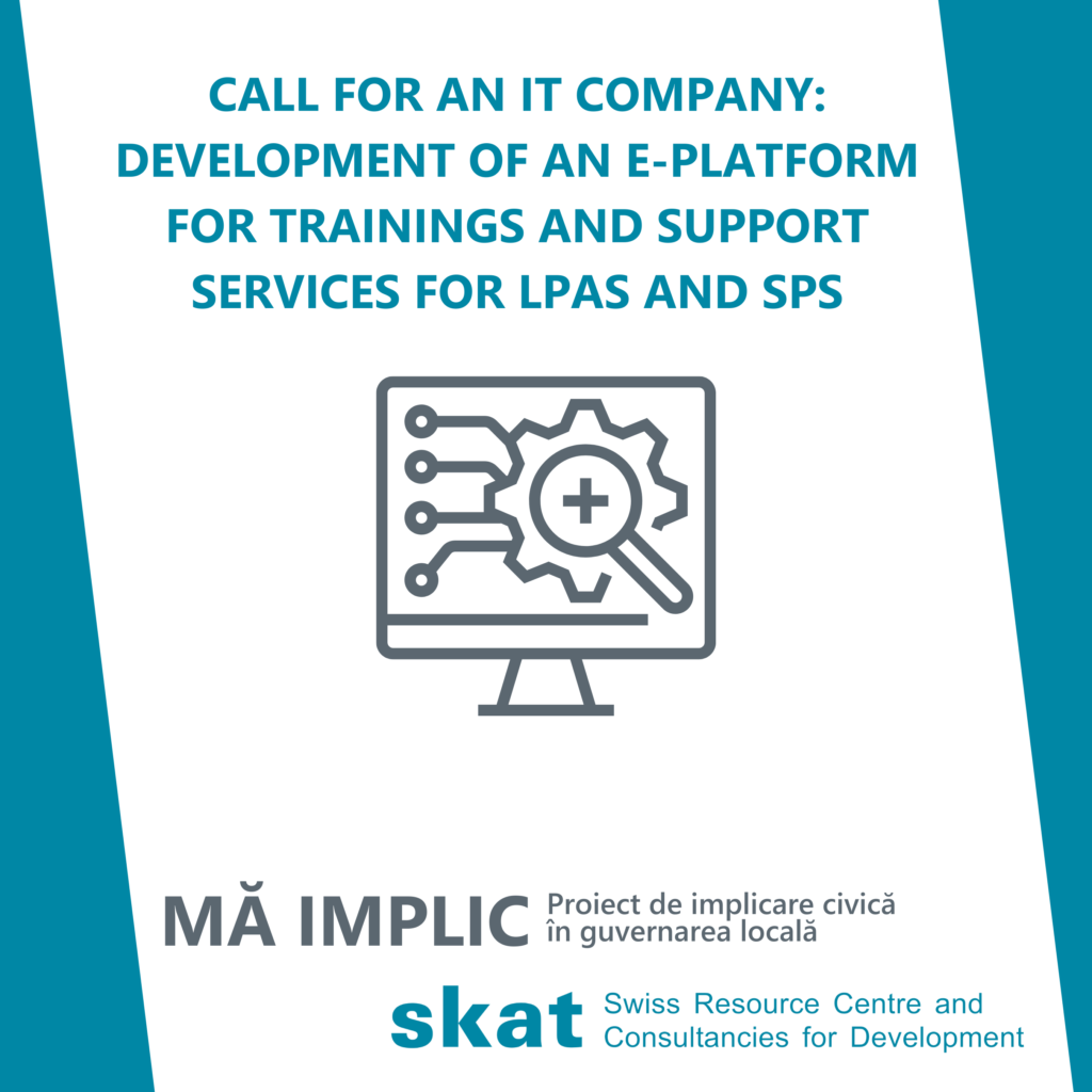 Call for an IT company: Development of an e-platform for trainings and support services for LPAs and SPs